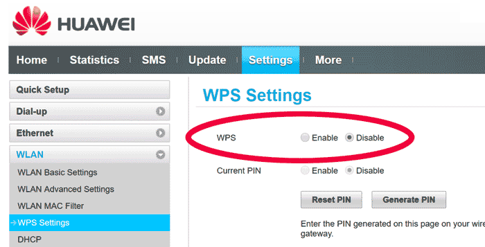 Disabling the WPS feature on a wifi router