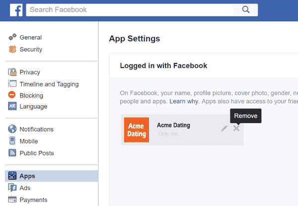The Facebook screen for linking apps to your Facebook login