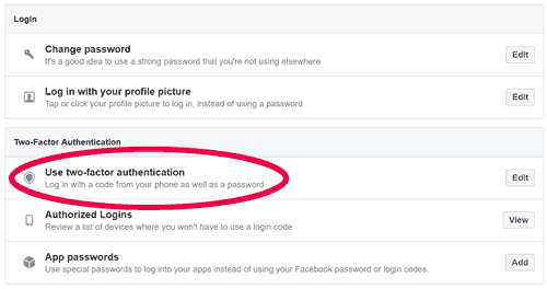 The options for enabling Two Factor Authentication