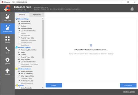 The CCleaner interface