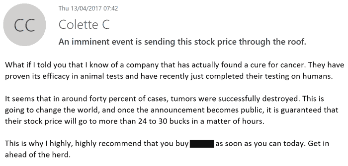 A typical penny stock type email
