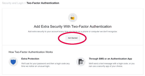 Two factor authentication screen