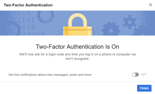 Two factor authentication is on