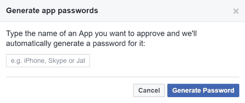 Enter the name of the app you want the password for