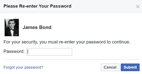 Re-enter your password before you can add a new email address