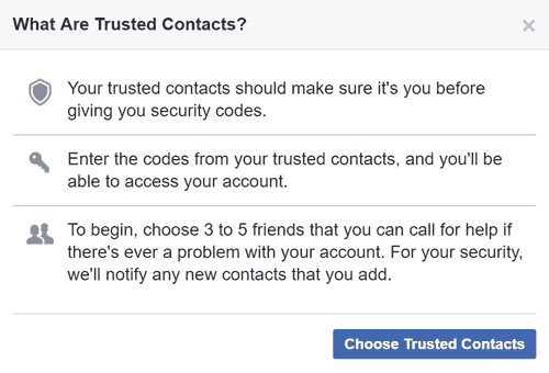 Introduction message about Trusted Contacts