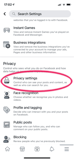 Finding the Facebook security menu