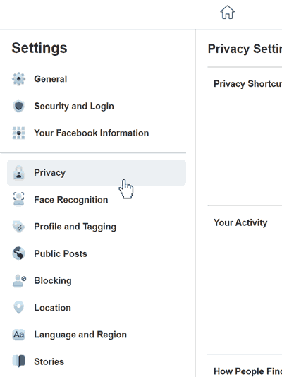 Facebook security menu