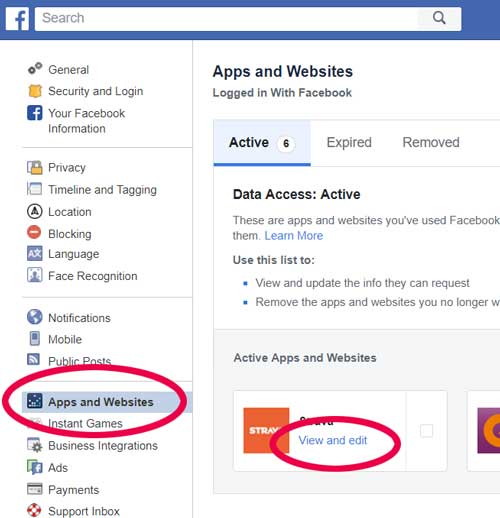 Finding the Apps and Websites menu option in Facebook