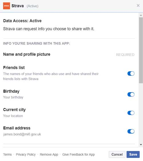 Changing the data access permisions of apps within Facebook
