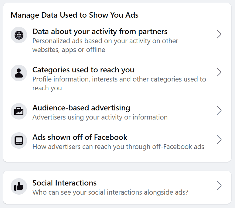 Advertising preferences on Facebook.