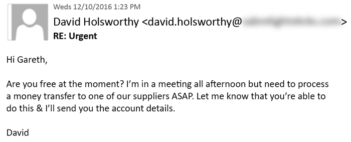 A typical CEO Fraud email