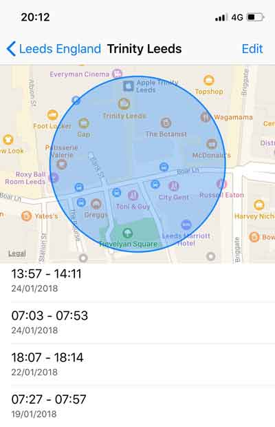 Location history on a phone