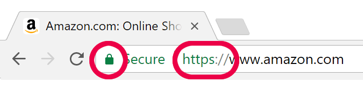 Browser padlock on a secure web page