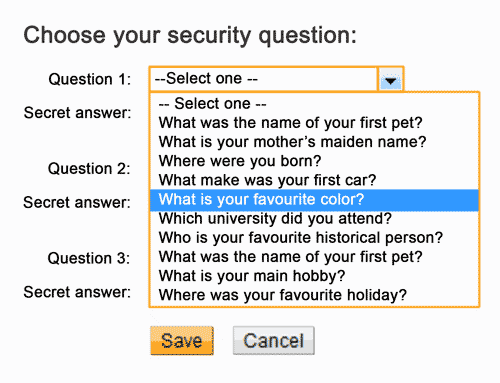Don't use obvious answers for your password reset questions