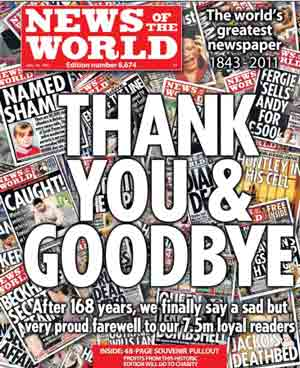 The last edition of the News of the World newspaper