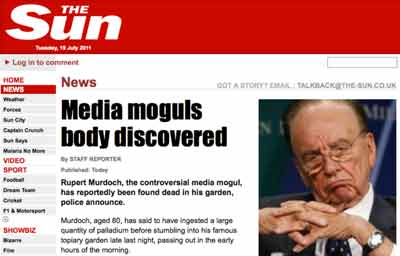 The fake homepage of The Sun<